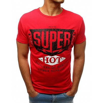 Červené pánské jednoduché tričko s nápisem rx3521