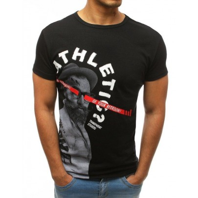 Pánské černé jednoduché tričko s potiskem rx3509