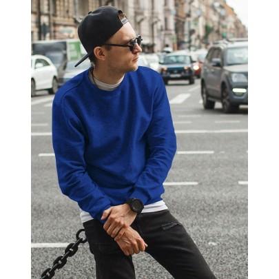 Modrá pánská mikina bez kapuce bx4197