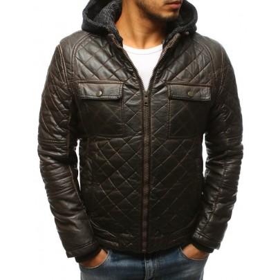 Pánská zimní kožená bunda hnědá vtx2432