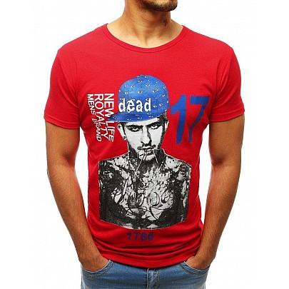 Červené jedinečné pánské tričko s potiskem rx3515