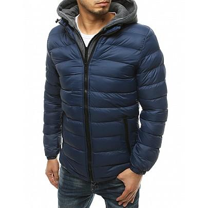 Modrý přechodný pánský kabát s kapucí vtx3542