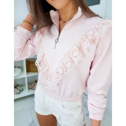 Dámská růžová mikina s krajkou by0339