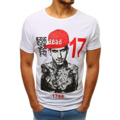 Bílé jedinečné pánské tričko s potiskem vrx3513