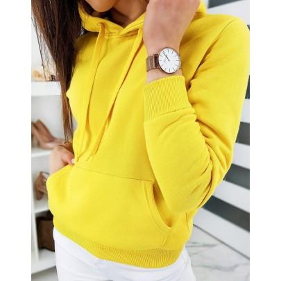 Dámská mikina žlutá s kapucí by0319