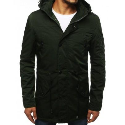 Přechodná zelená pánská bunda s kapucí tx2884