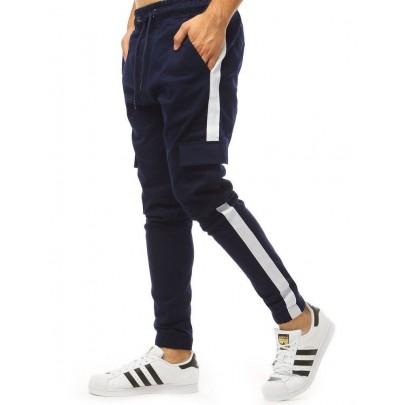 Tmavě modré pohodlné pánské teplákové joggery vux1998