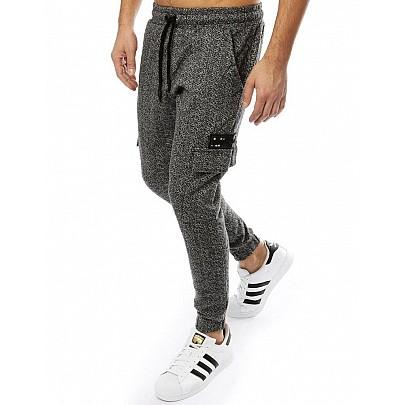 Pánské pohodlné černošedé joggery vux2187