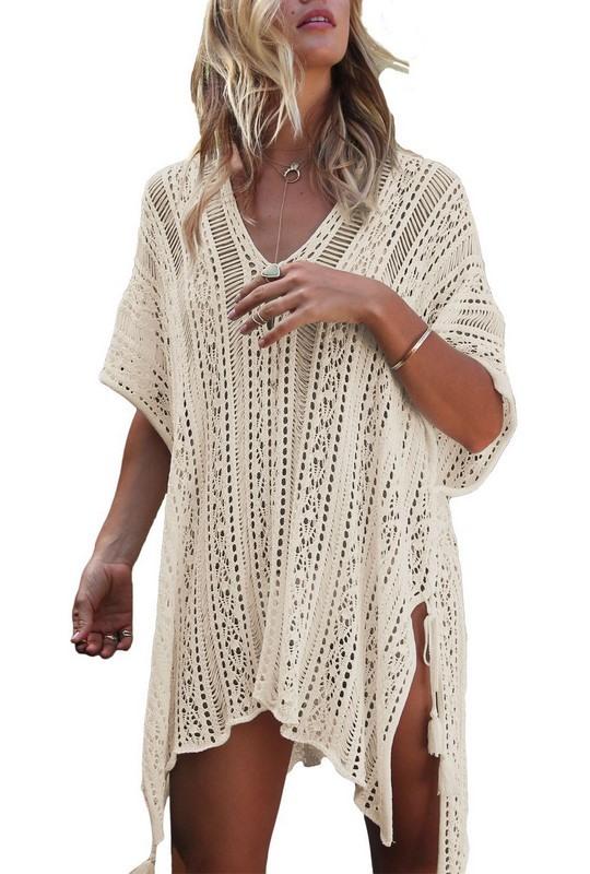 Dámské béžové plážové šaty