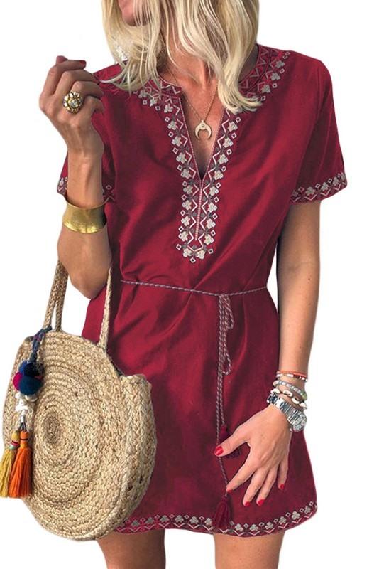 Dámské bordové letní šaty CLARINA