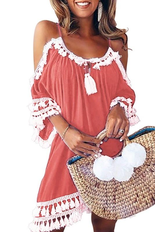 Stylové plážové šaty - růžové