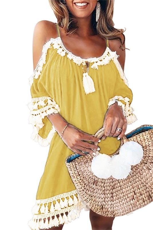Stylové plážové šaty - žluté