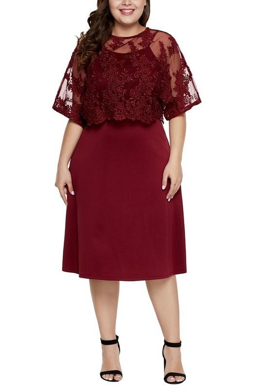 Levně Dámské bordové plus size midi šaty Serafina
