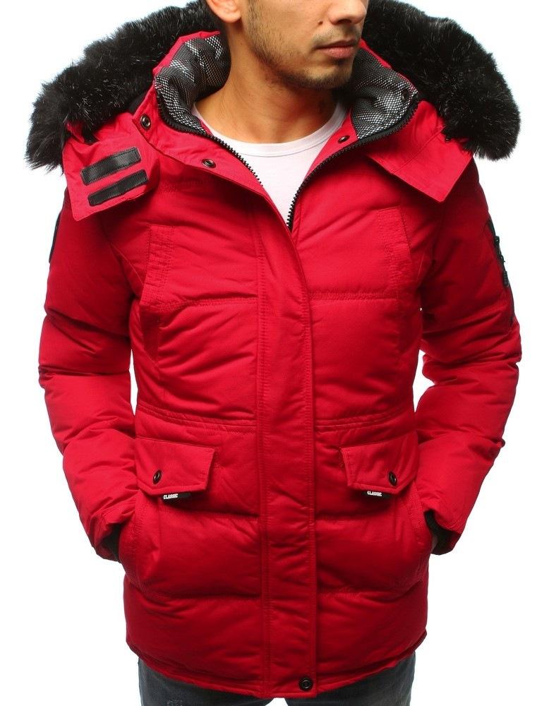 Stylová pánská zimní bunda - červená vtx2508