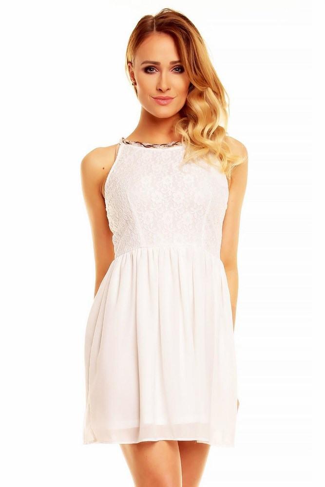 Dámské krajkové bílé šaty Carmela