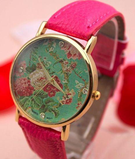 Dámské květované hodinky - růžové
