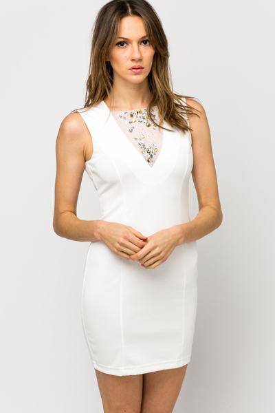 Dámské šaty vykládané Sky - bílé