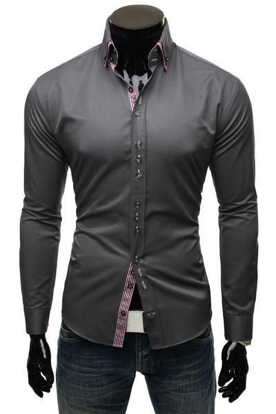 Pánská Slim Fit košile Detroit - tmavě šedá