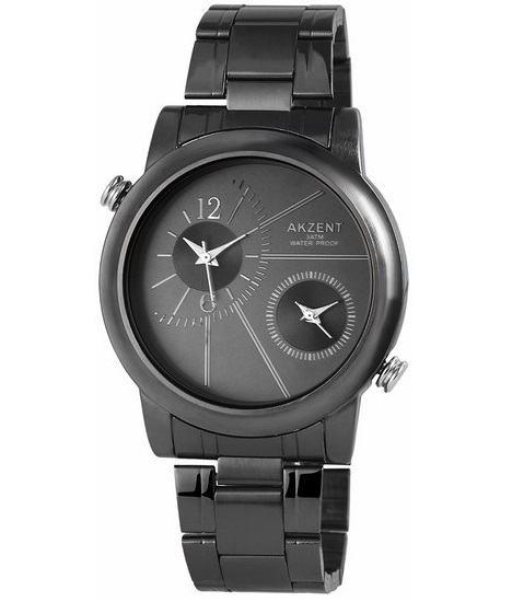 Pánské kovové hodinky Akzent Dual - černé