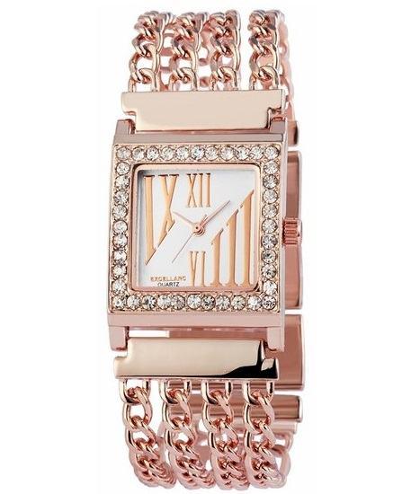 Dámské hodinky Excellanc Square - Rose Gold vykládané