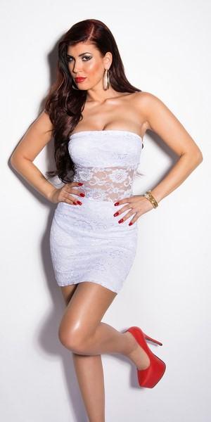 Bílé šaty s krajkou Giavanna