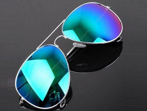 Sluneční brýle AVIATOR - pilotky stříbrný kovový rám zelené