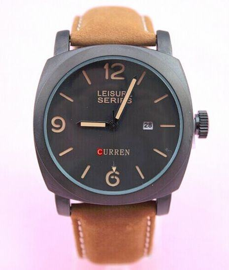 Pánské vodotěsné hodinky Curren černé hnědý řemínek