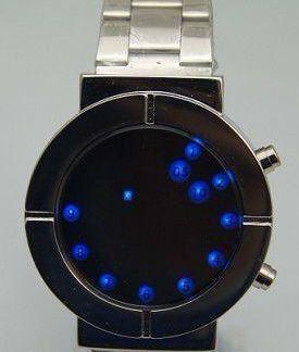 LED hodinky stříbrný řemínek - modré