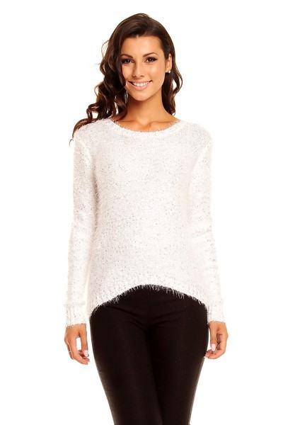 Dámský třpytivý svetr bílý