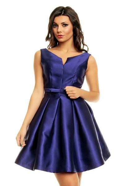 Dámské saténové modré šaty Kaiya