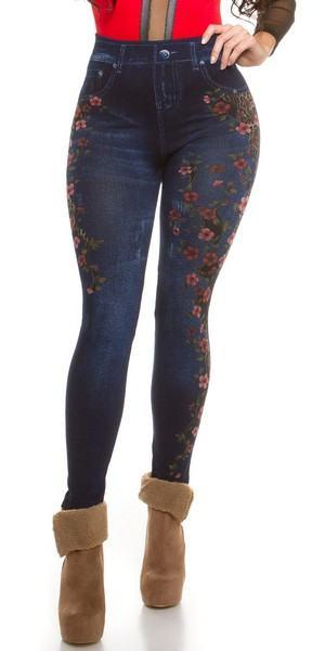 Trendy legíny Jeans - květované