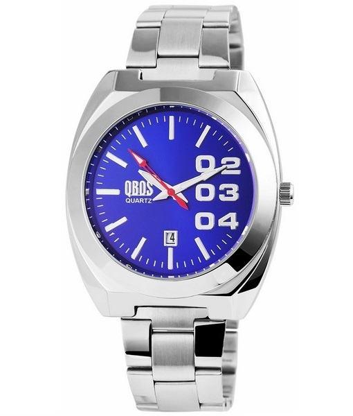Pánské kovové hodinky QBOS stříbrné Blue