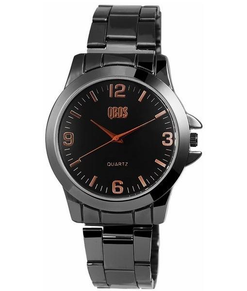 Pánské kovové hodinky QBOS černé Gold