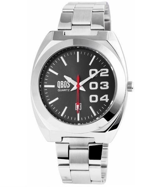 Pánské kovové hodinky QBOS stříbrné černé