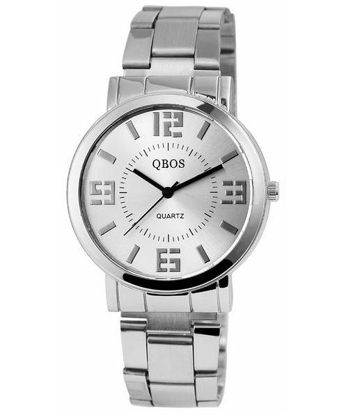 Pánské kovové hodinky QBOS Round stříbrné