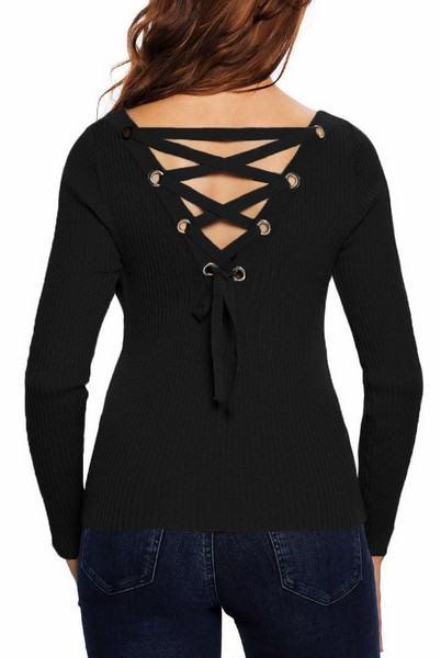 Dámský svetr se šněrováním Jolie - černý