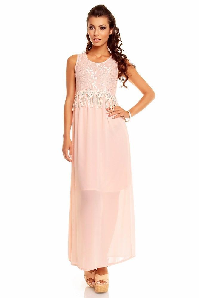 Dámské dlouhé šaty růžové