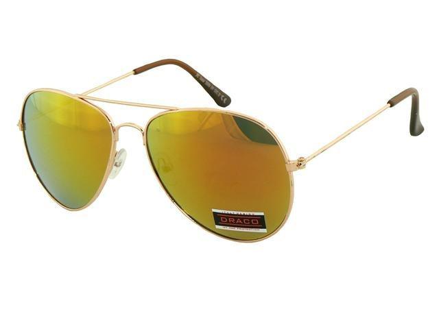 Sluneční brýle AVIATOR - pilotky zlatý kovový rám zlatohnědé