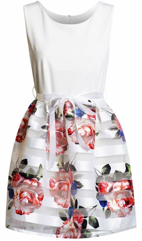 Dámské kytičkové šaty Daniella bílé