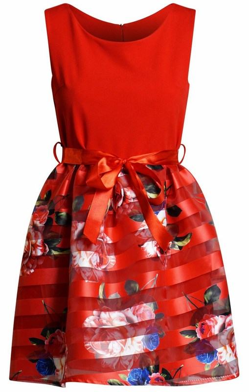 Dámské kytičkové šaty Daniella červené