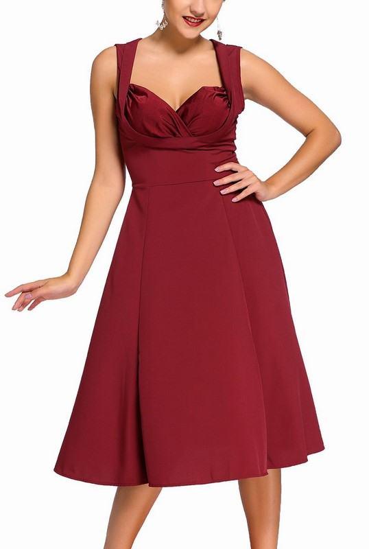 Dámské retro šaty Talyse - burgundy