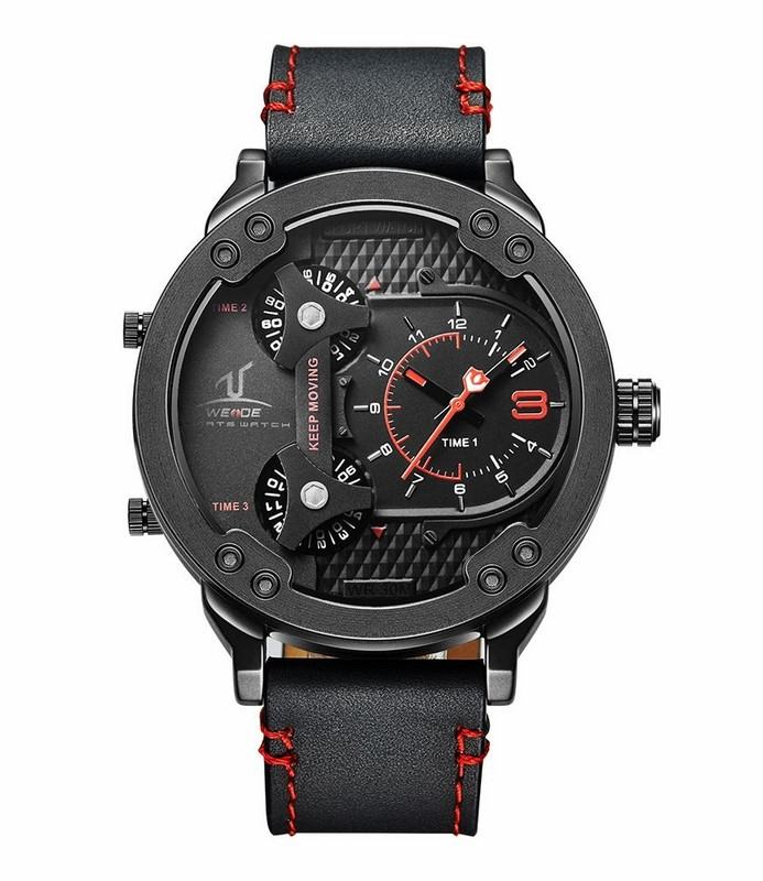 Pánské sportovní hodinky WE černé červené + dárkový box