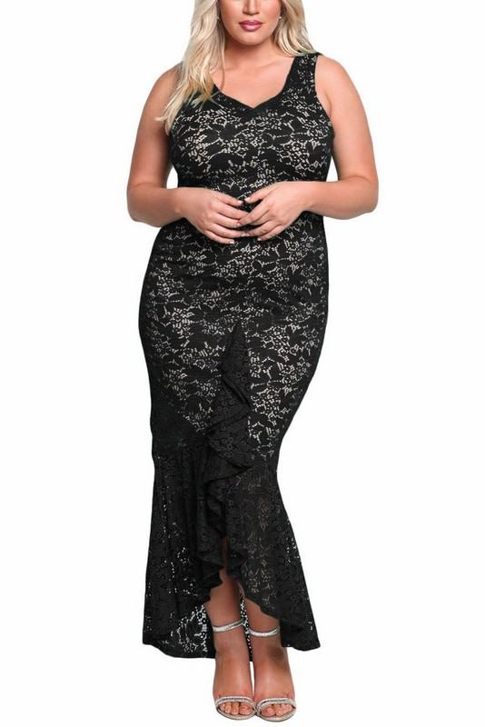 Levně Plus size šaty Molly - černé