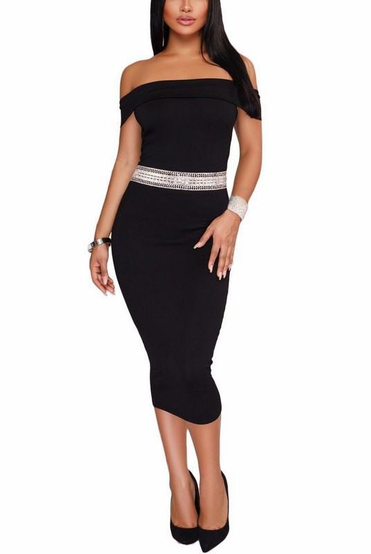 Černé dámské midi šaty Rachel