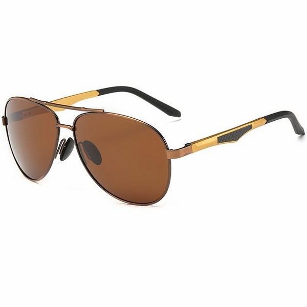 Polarizační sluneční brýle pilotky Aron hnědé