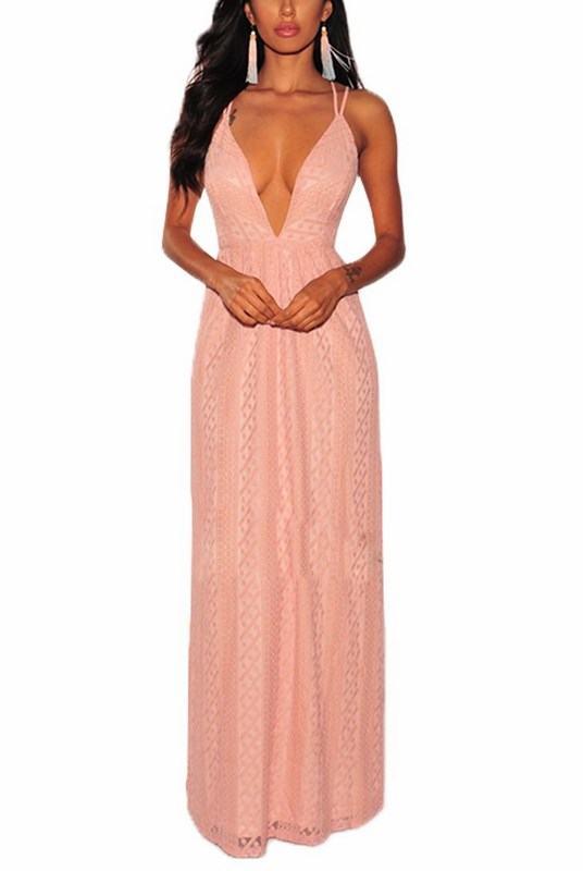 Večerní dámské šaty se vzorem Carlotta - růžové