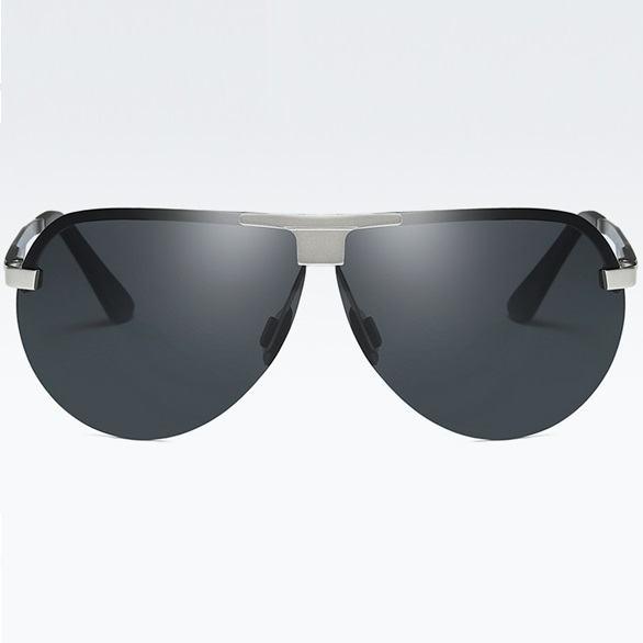 Polarizační sluneční brýle pilotky Wayne stříbrné černé