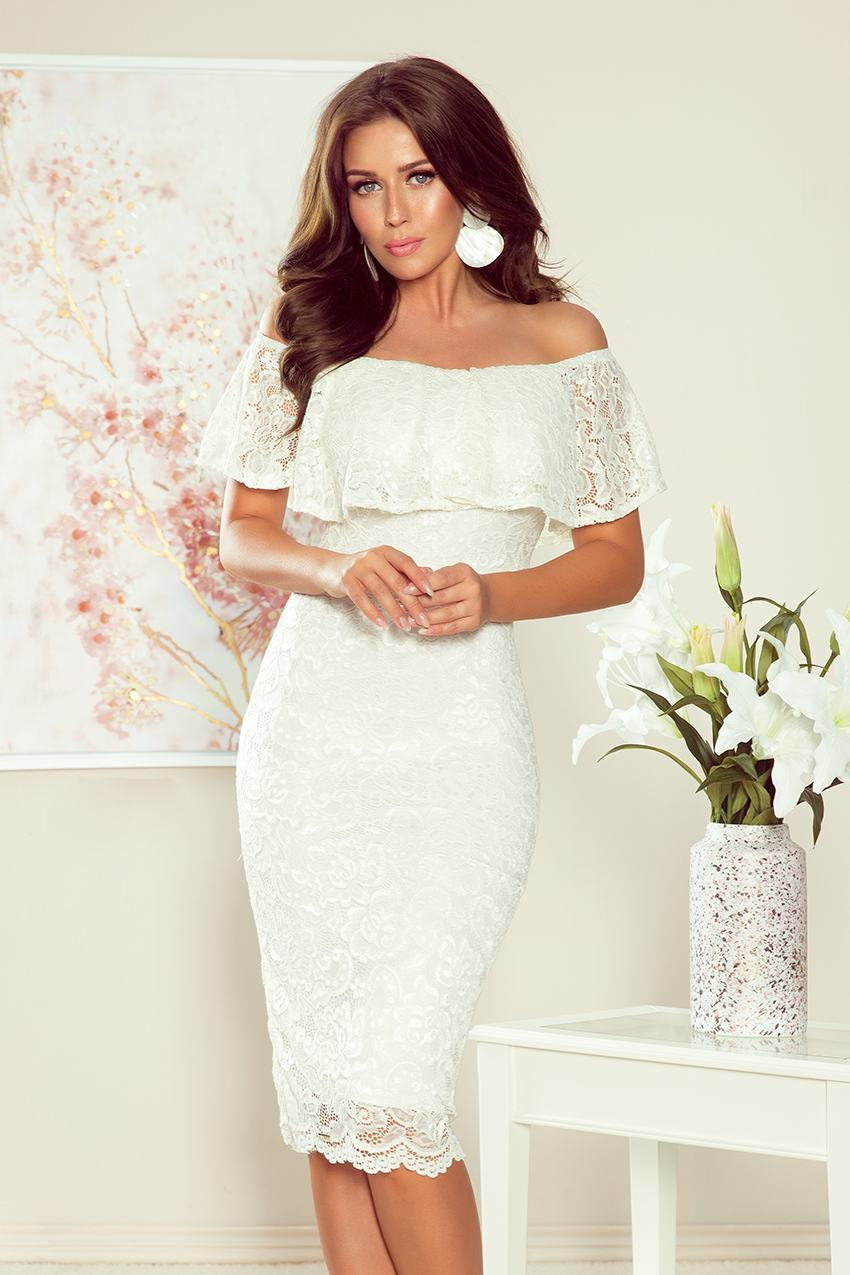 Dámské bílé midi šaty NICOLA 268-1