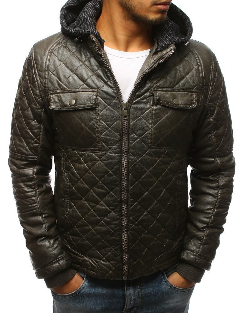 Pánská zimní kožená bunda khaki tx2431