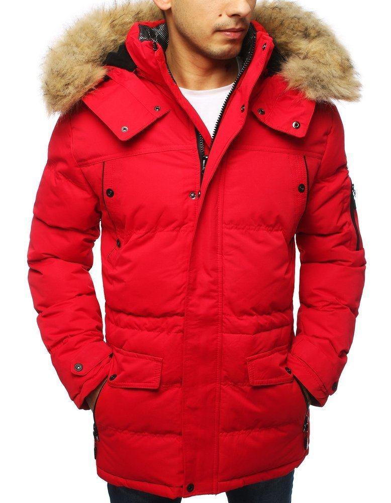 Teplá zimní pánská červená bunda tx3116